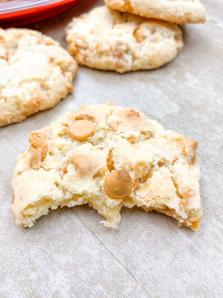 A butterscotch cake mix cookie on a counter.