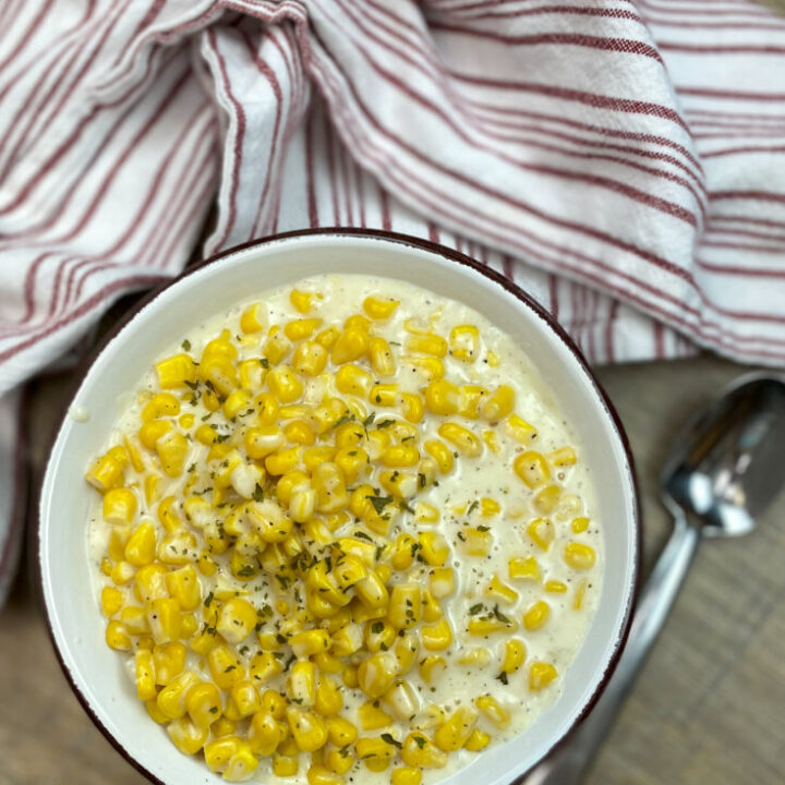 Creamed corn in a bowl.