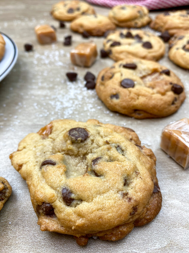Caramel and chocolate chips cookies on the counter.