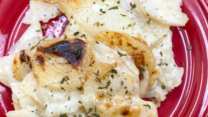 Easy homemade scalloped potatoes on a red plate.