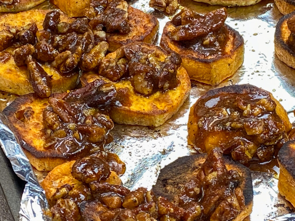 Sweet potatoes with sorghum syrup on top.
