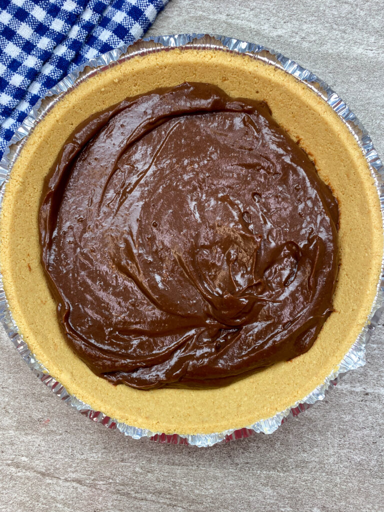 Chocolate pudding in a graham cracker crust.