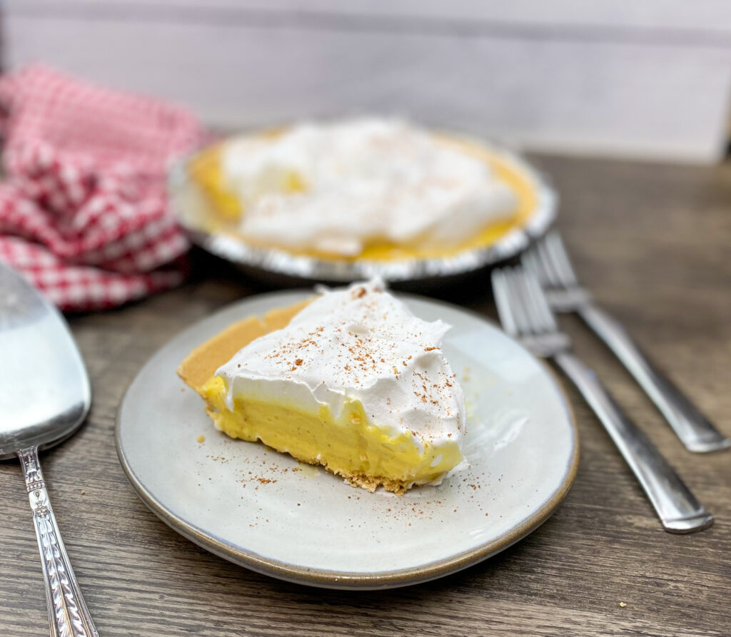 Eggnog pie recipe on a plate.