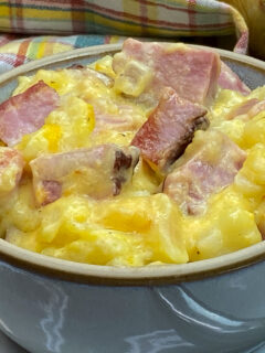 Ham and potatoe casserole in a small bowl.