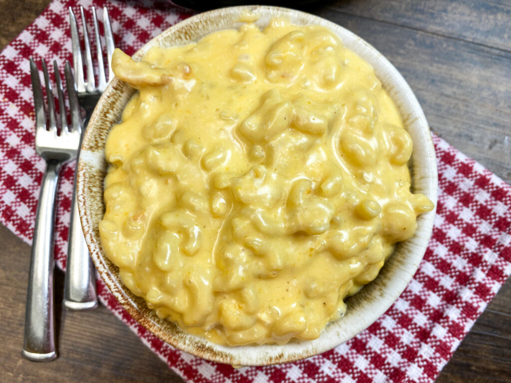 Homemade macaroni and cheese in a bowl.