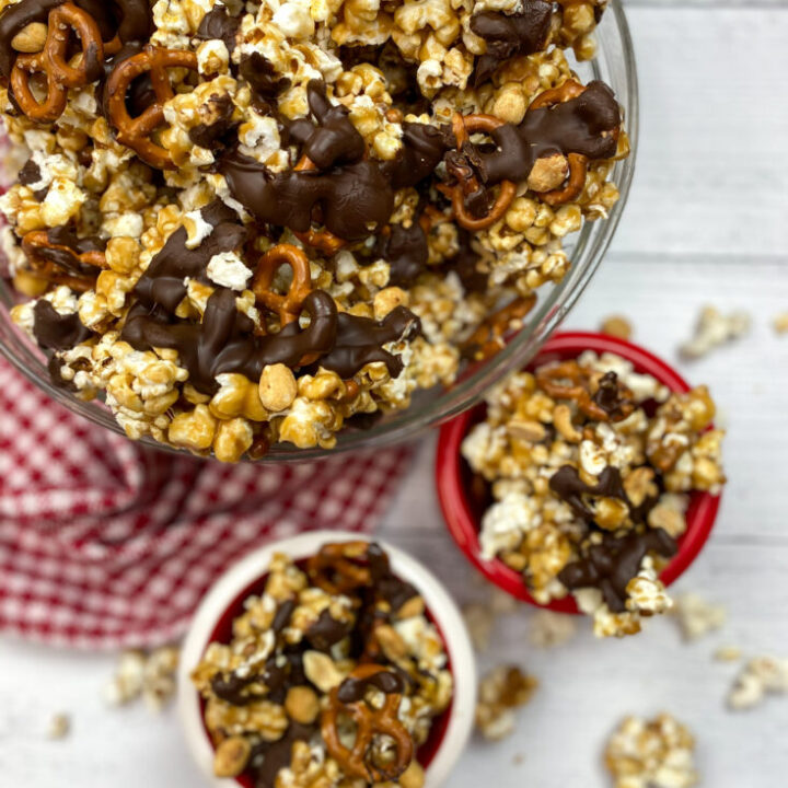 Caramel popcorn with chocolate and pretzels