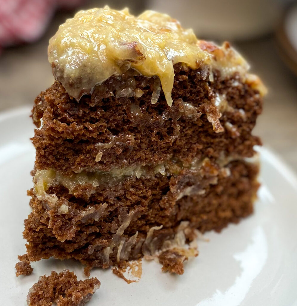 A slice of German Chocolate Cake on a plate.