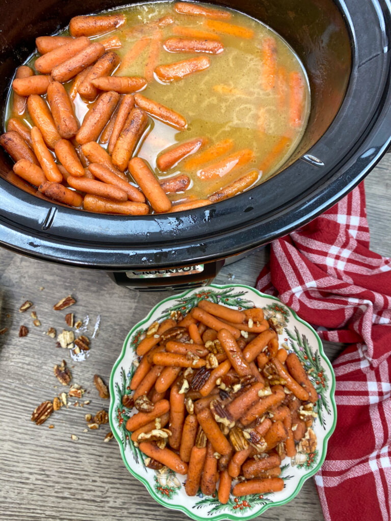 Carrots in a slow cooker and in a bowl.