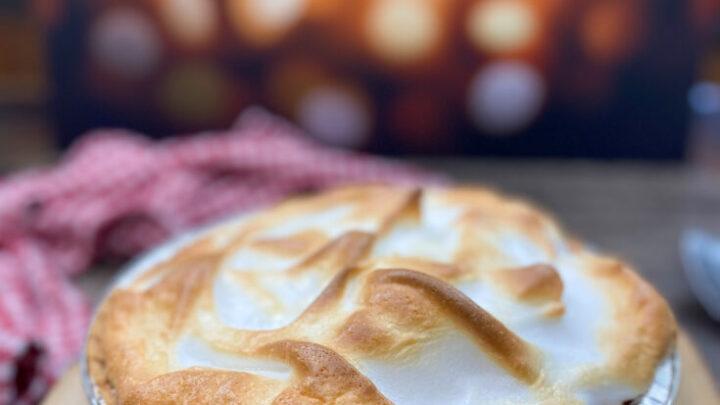 Butterscotch pie on a counter.