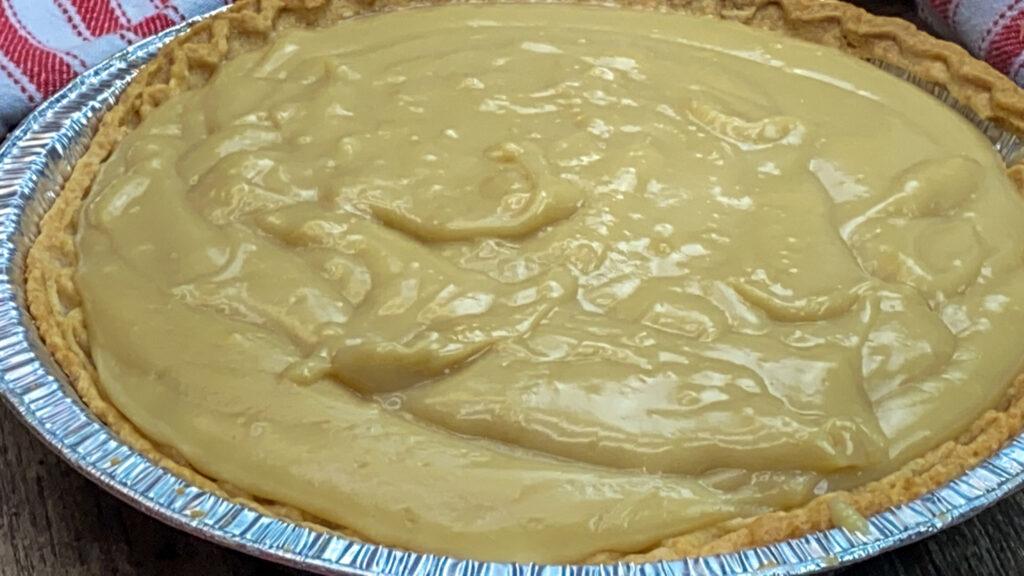 Butterscotch pie in a pie shell.