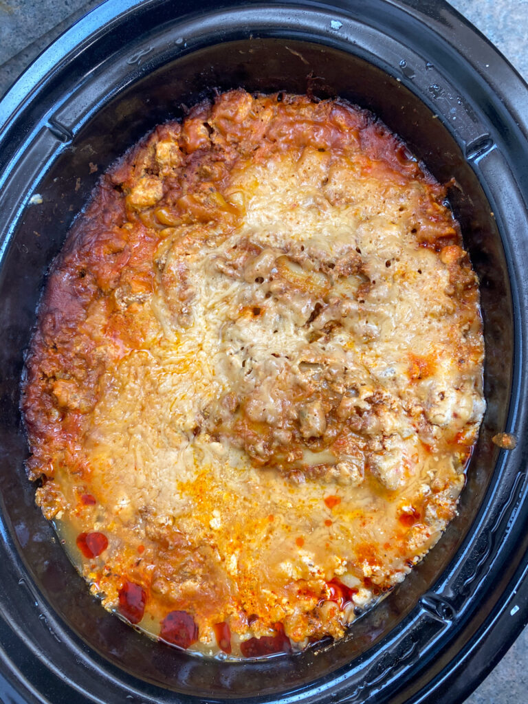 Cooked lasagna in the slow cooker.
