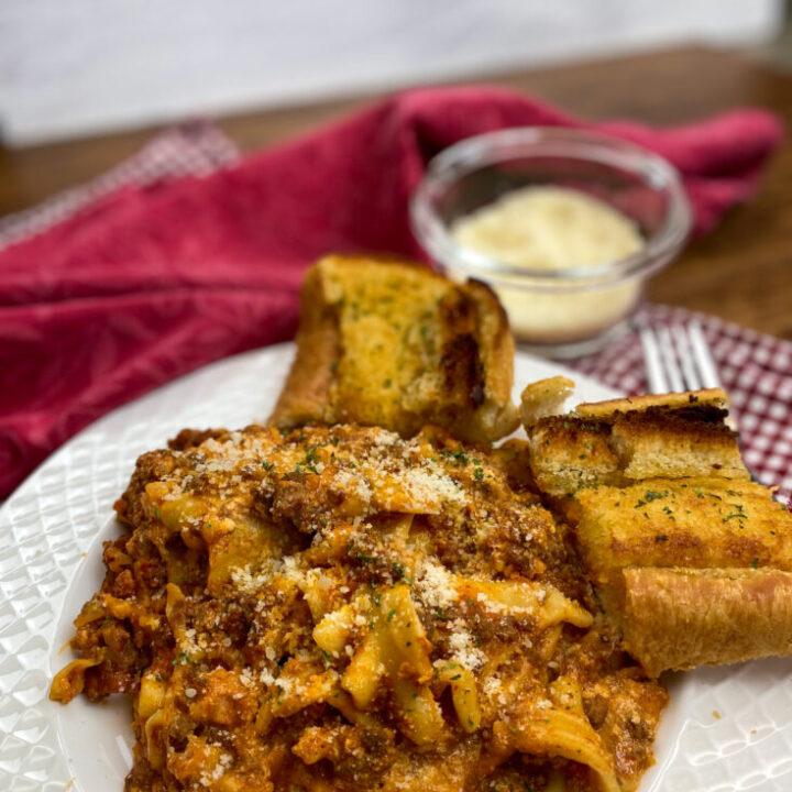 Crock Pot lasagna on a white plate.