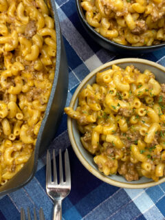 Easy hamburger helper in a bowl and skillet.