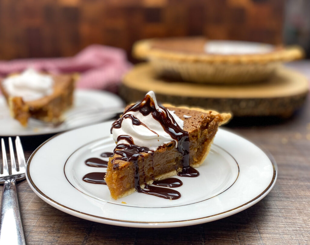Easy peanut butter pie on a plate.