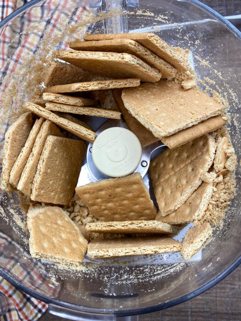 Graham crackers in the Cuisinart.