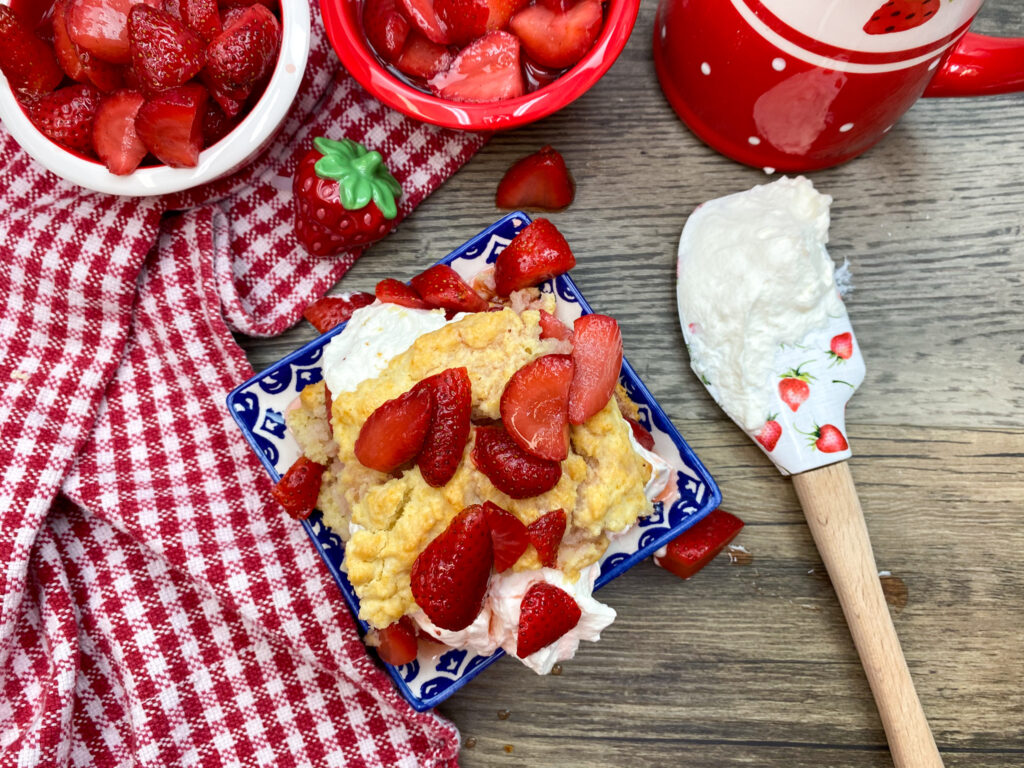 Easy strawberry shortcake on a plate.