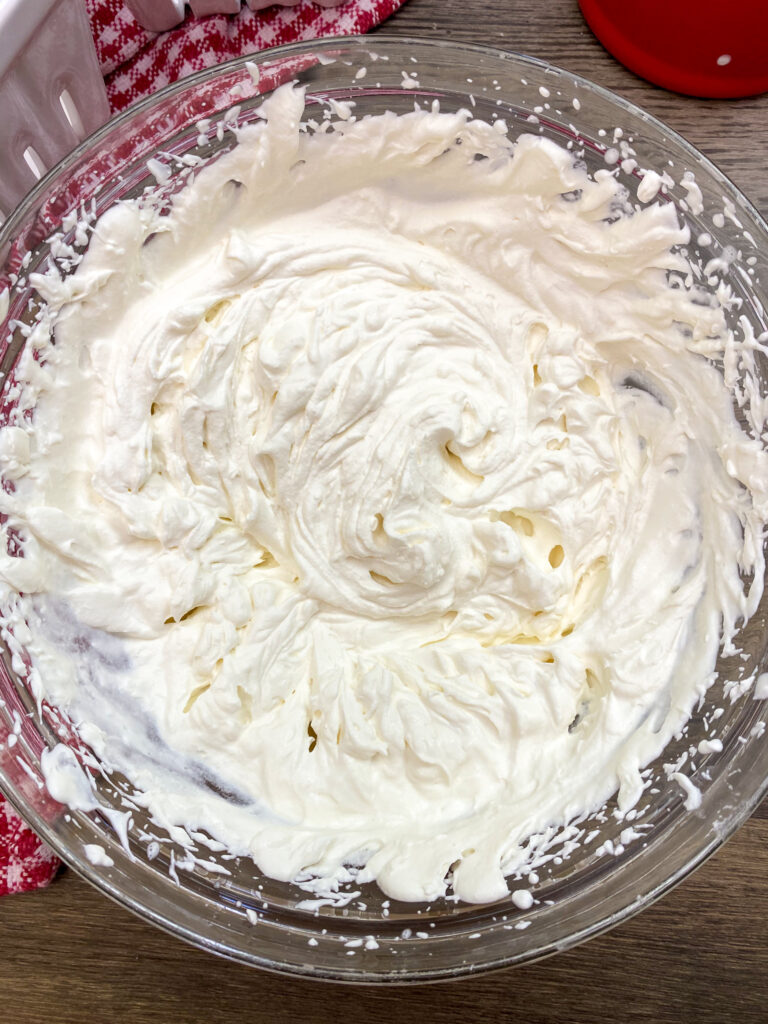 Homemade whipped topping in a bowl.