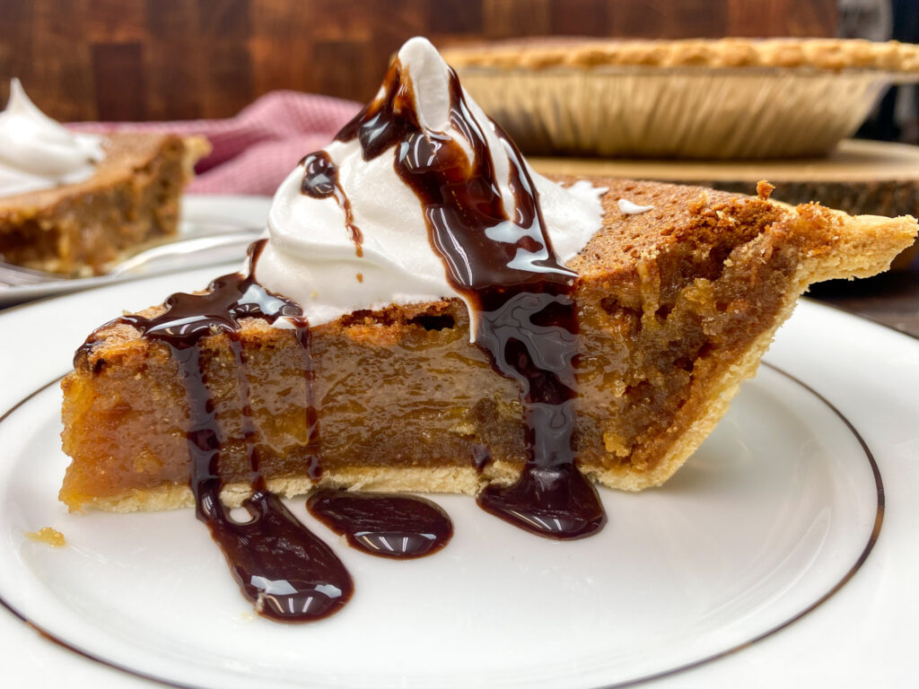No bake peanut butter pie on a plate.