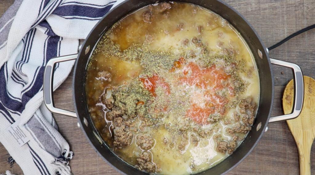 Tomato sauce in the skillet.