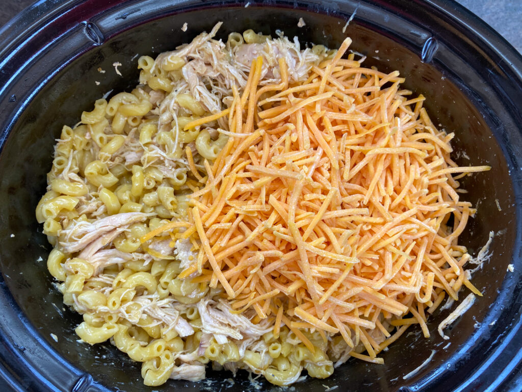 Shredded cheddar cheese on top of noodles and chicken.