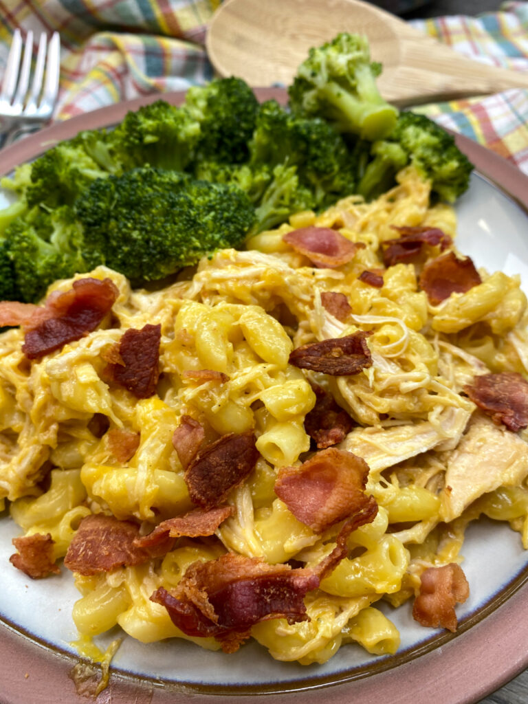 Cheesy chicken and noodle casserole on a plate with broccoli.