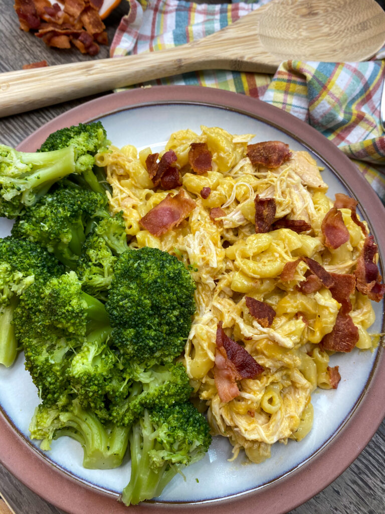 Slow cooker chicken casserole on a plate with broccoli.