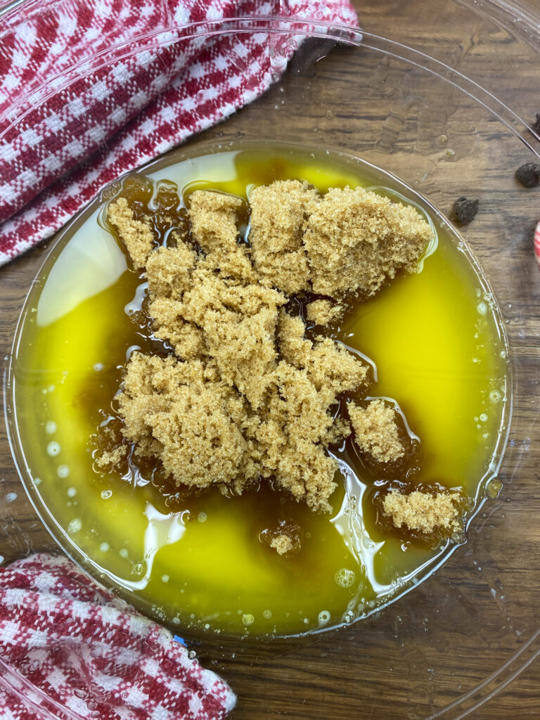Brown sugar in a bowl with butter.