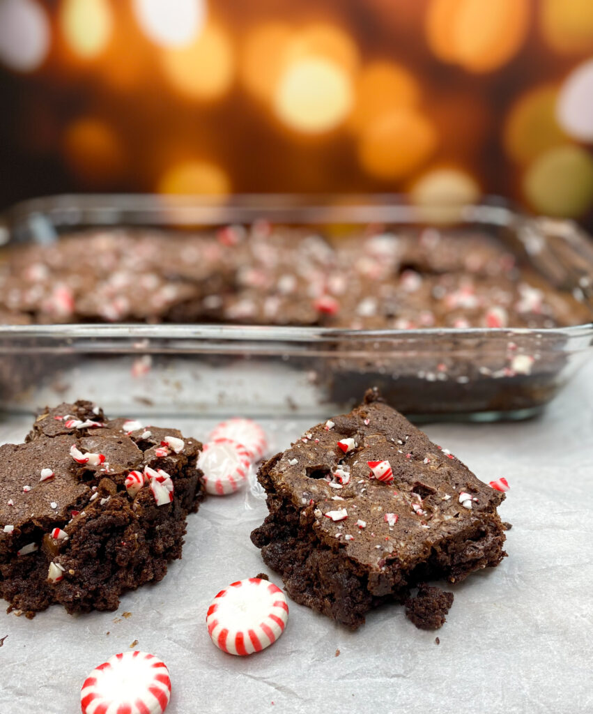 Fudgy brownies on the counter.