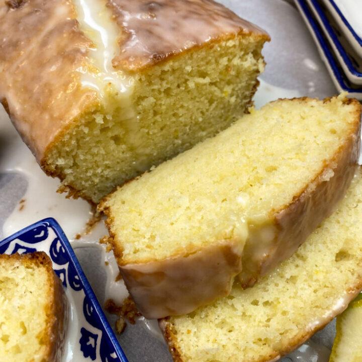 Copycat Starbucks lemon loaf sliced on a plate.