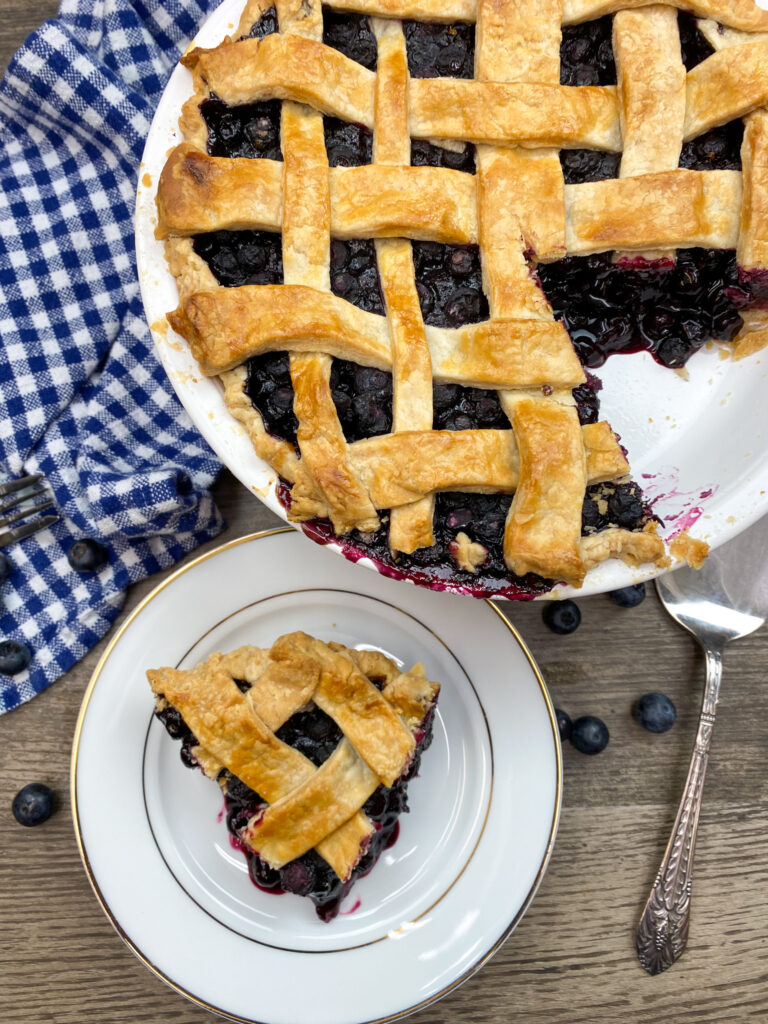 Baked blueberry pie on a plate.