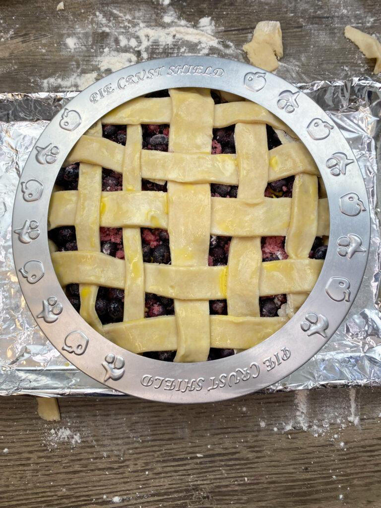Blueberry pie with a pie shield