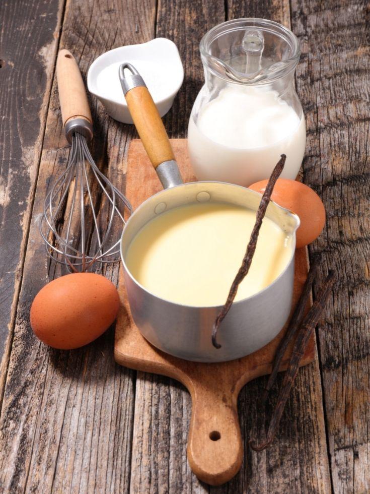 Egg custard in a saucepan.
