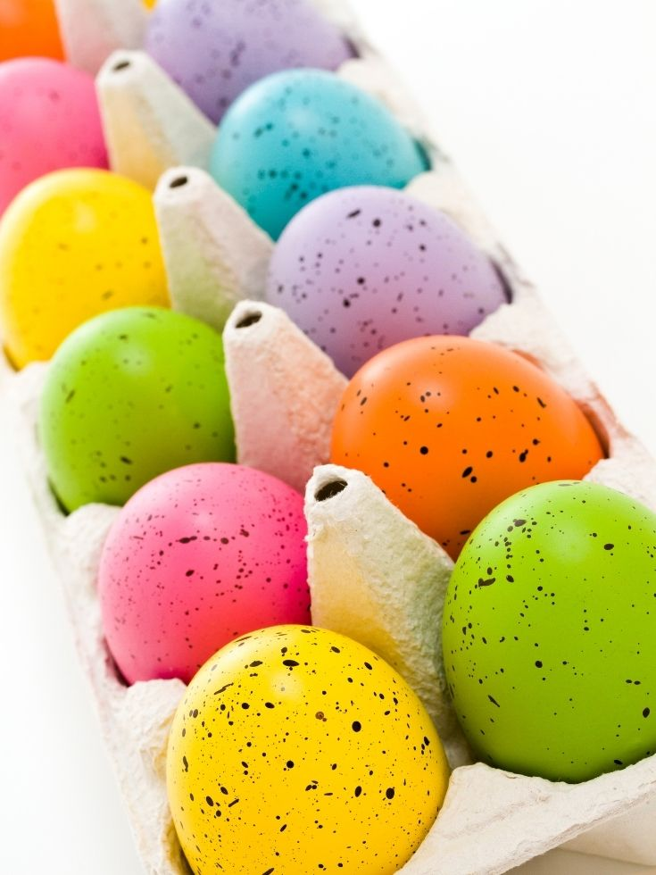Easter Eggs in an egg container