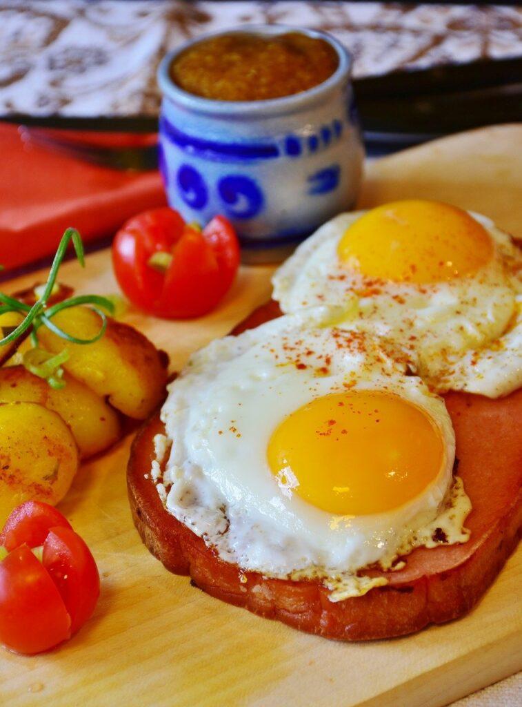 Egg yolks on ham.