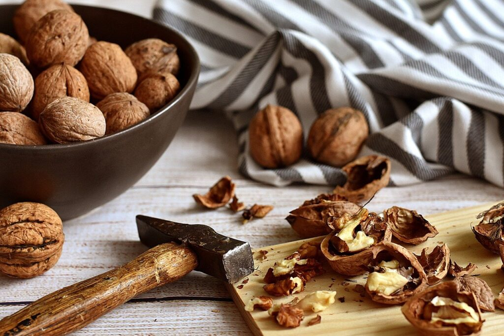 Walnuts on the counter.