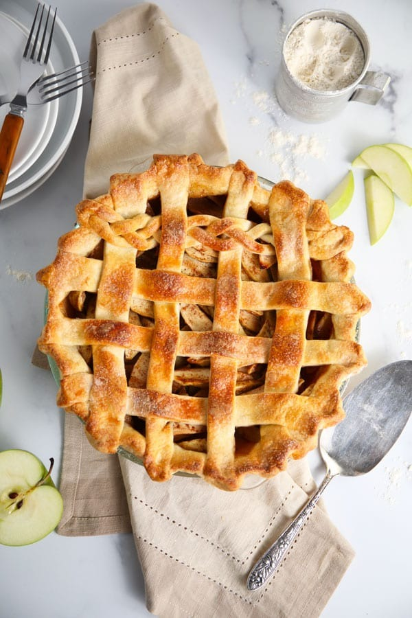 Baked apple pie on the counter