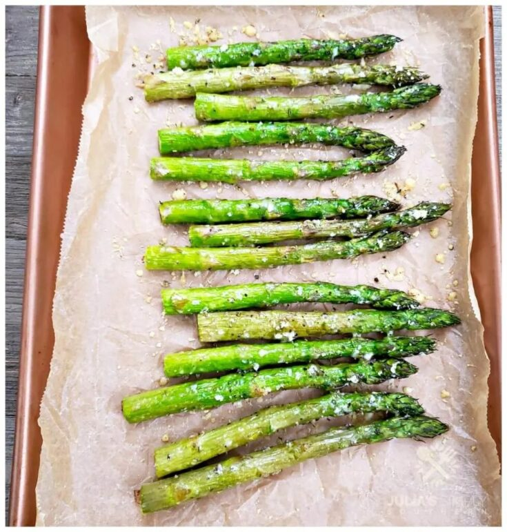Asparagus on a cooking sheet