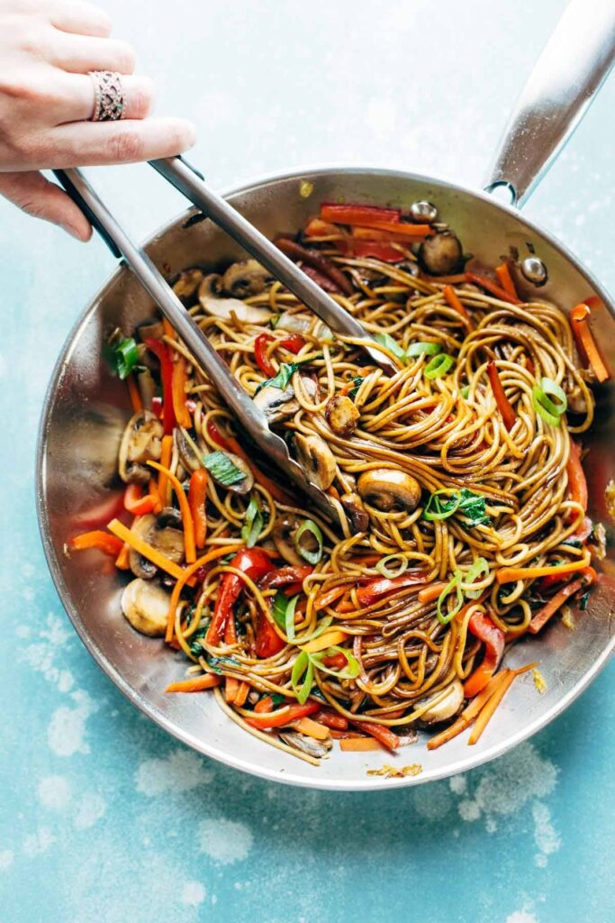 Lo Mein in a bowl.
