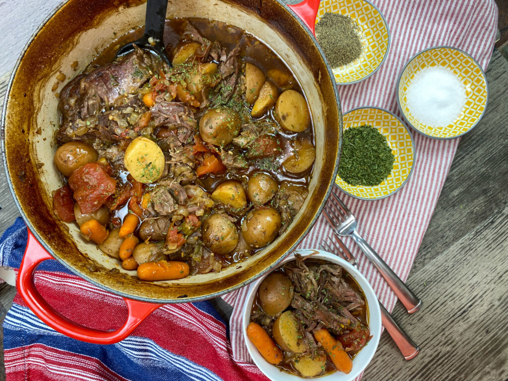 Beef chuck roast in a dutch oven