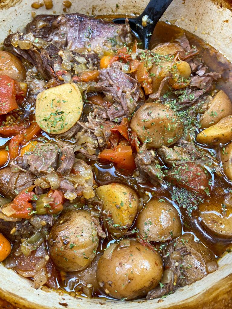 Chuck roast in a dutch oven