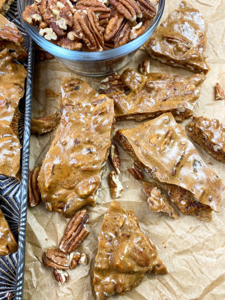 Pieces of pecan brittle
