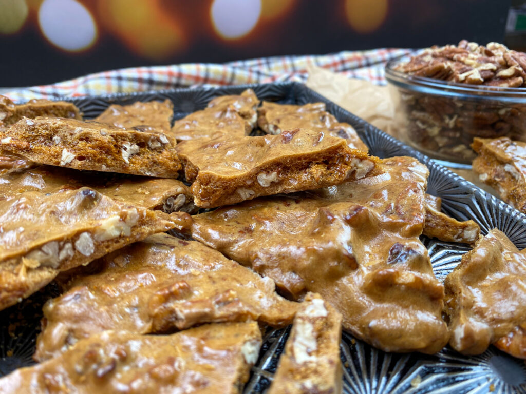 Pecan brittle on a cookie sheet