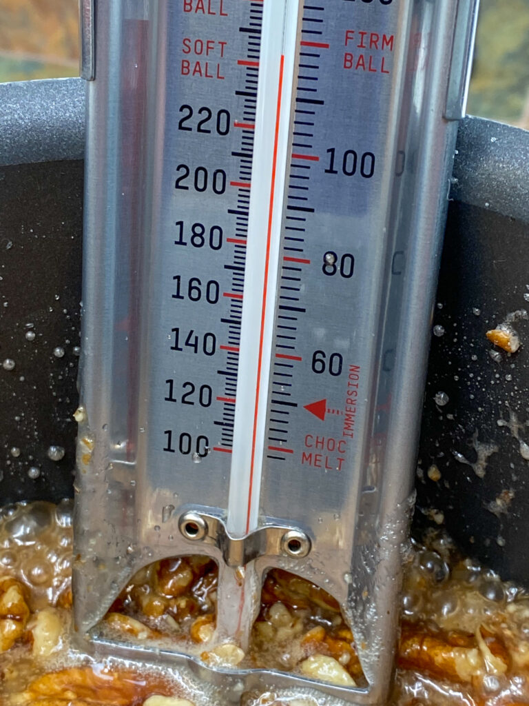 A thermometer in a saucepan for checking candy temperature
