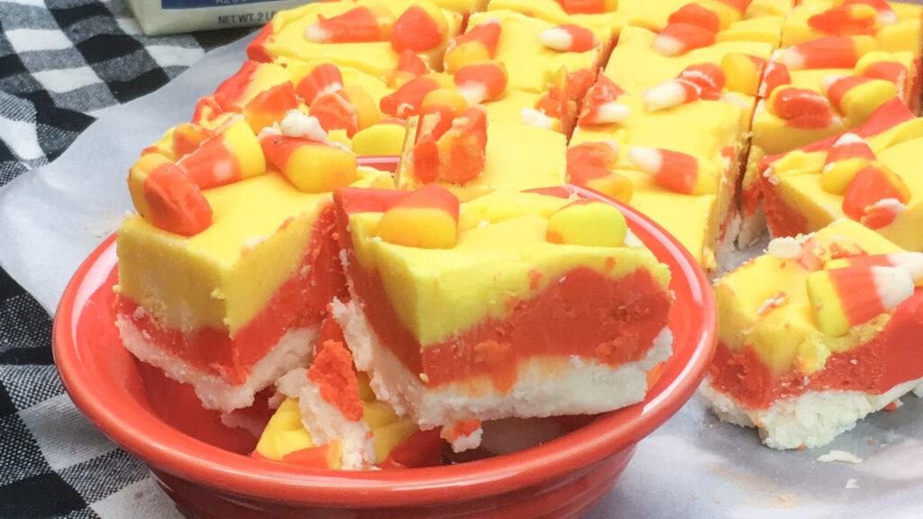 Candy corn fudge in a bowl