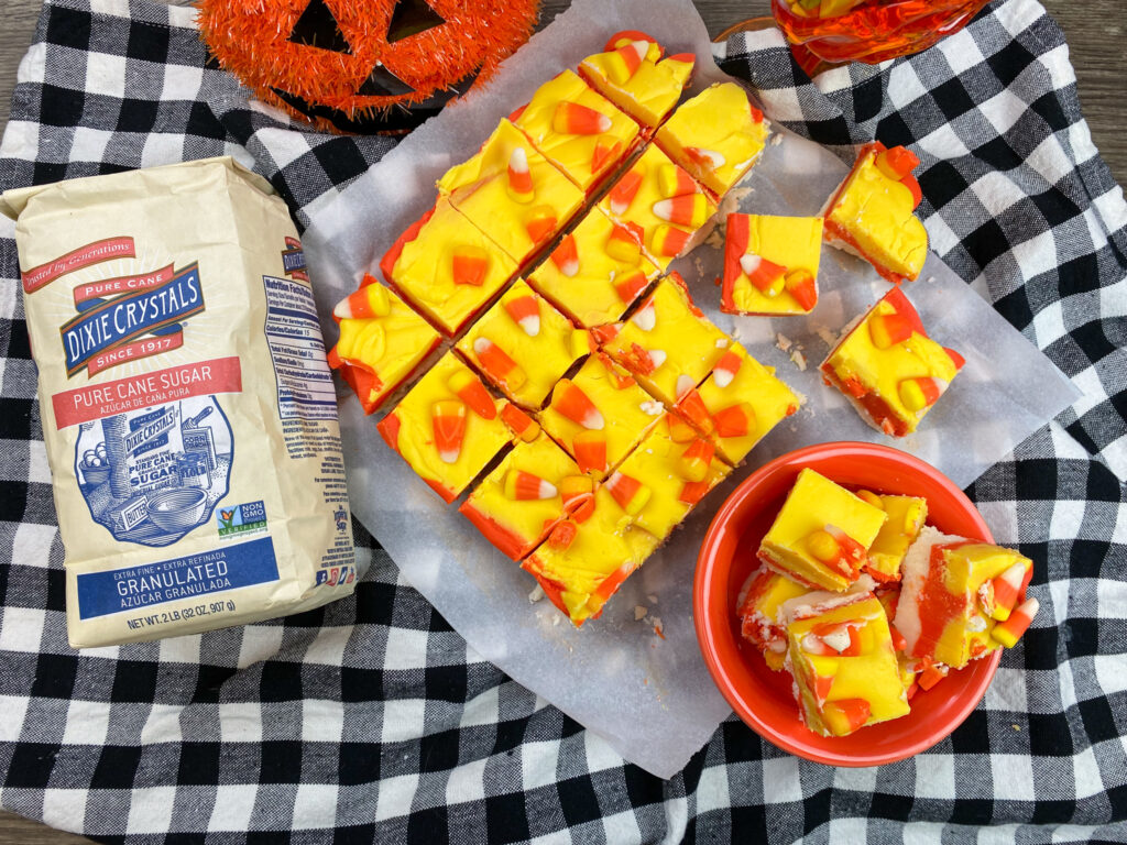 Candy corn fudge on the counter.