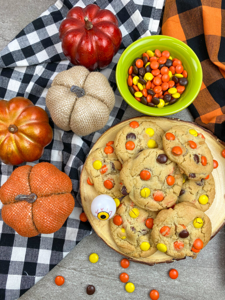 Reese's Pieces cookies on a plate.