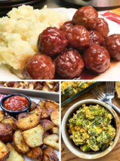 Pictures of side dishes to serve with meatballs.