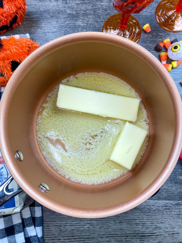 Melting butter in a saucepan